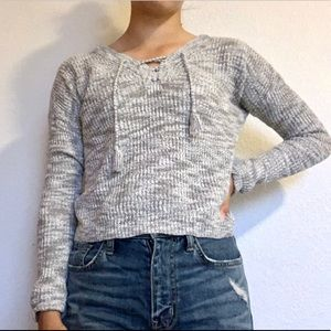 Grey Sweater With Lace- Up Detail